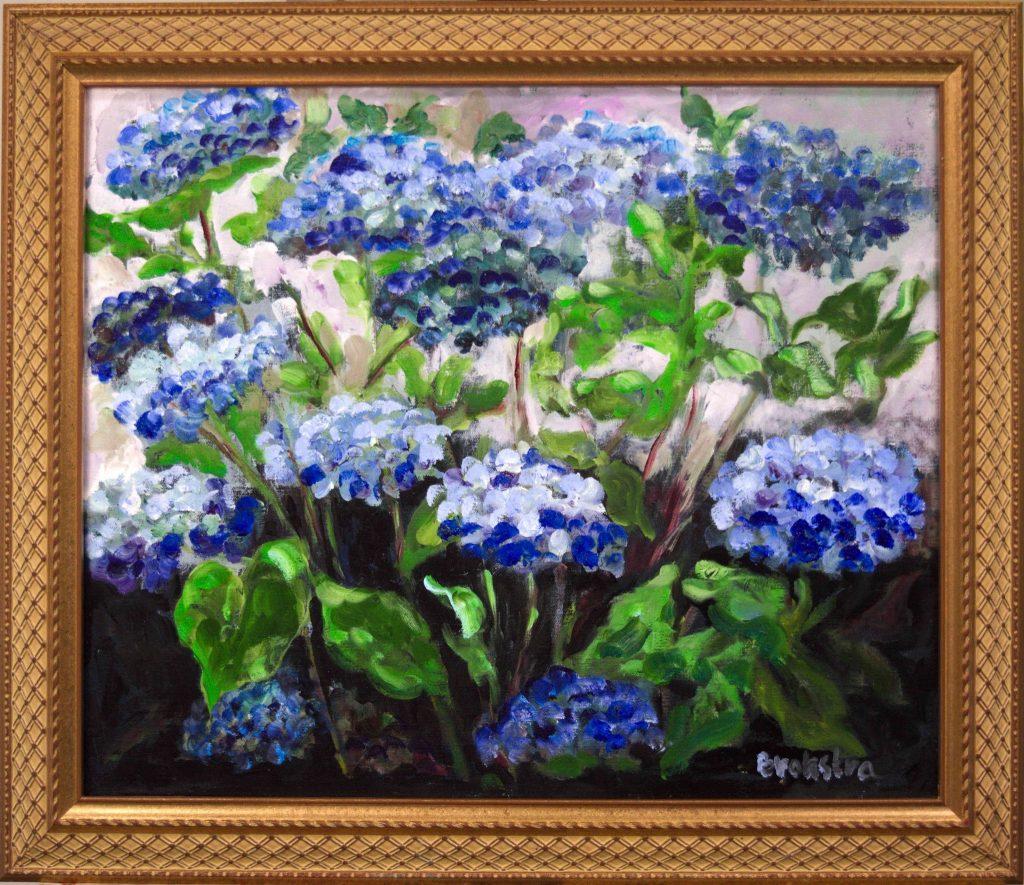 Anke-Brokstra_Blauwe-hortensia-op-lichte-achtergrond-50-x-60-2016.