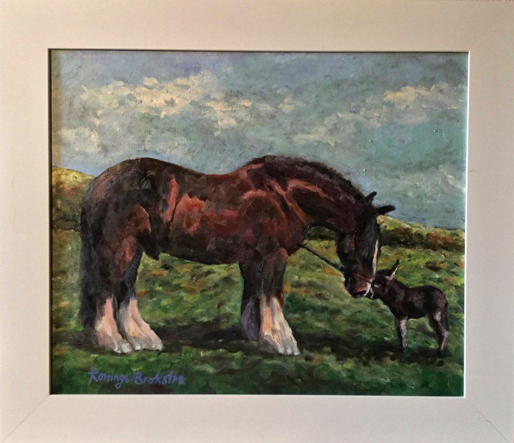 Anke-Brokstra_Groot-paard-met-klein-ezeltje.-Gezamenlijk-werk-met-Bas-Konings-50-x-60-2020