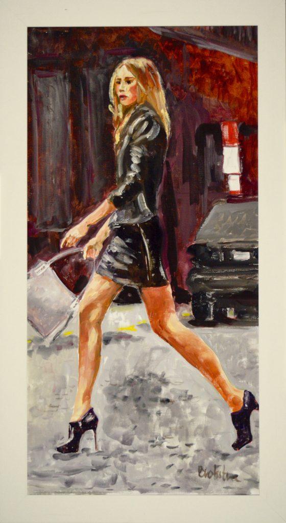 Anke Brokstra_Meisje op hoge hakken in New York 50 x 100 2017