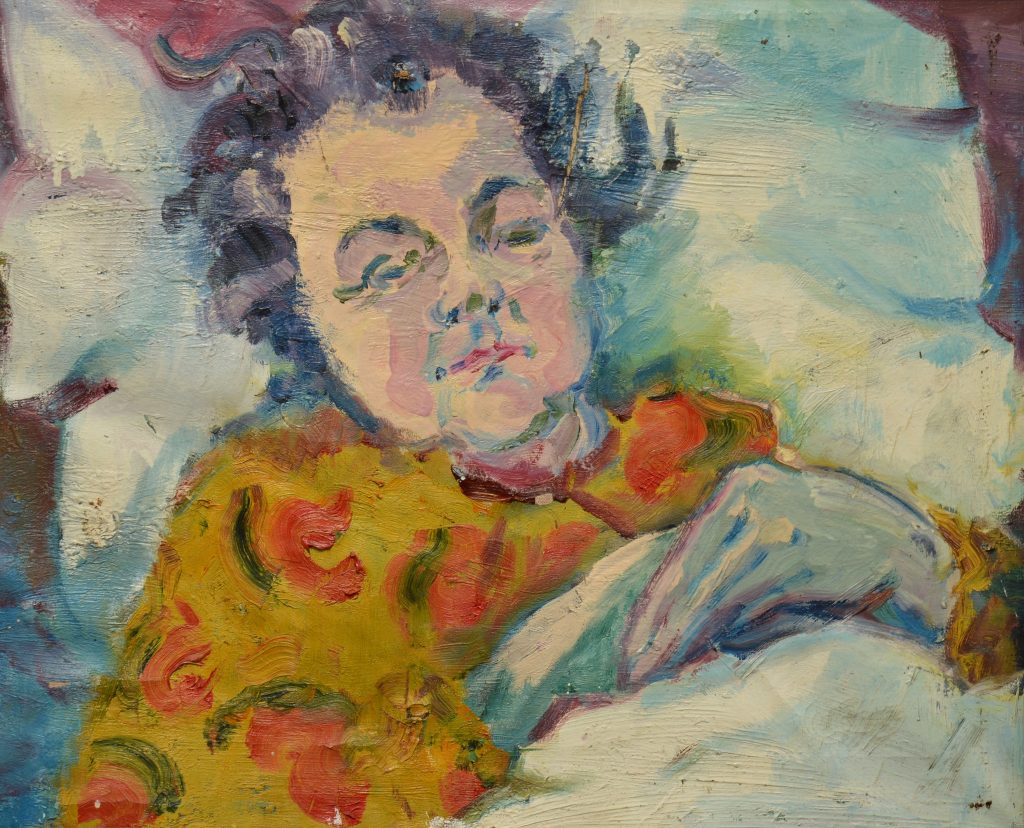 Anke-Brokstra_Portret-moeder-Geertje-Neefjes-op-ziekbed-50-x-60-1955.Heel-vroeg-jeugdwerk.