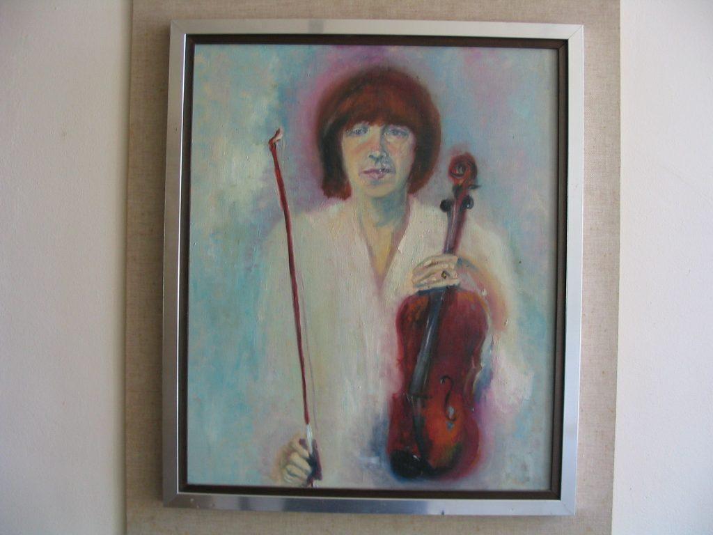 Anke Brokstra_Violiste met viool in de hand 50 x 60 1985
